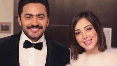 """صورة شاهد .. تامر حسني وزوجته على خطى عمرو دياب ودينا الشربيني ومتابعوهم : """" نفس الملابس""""."""